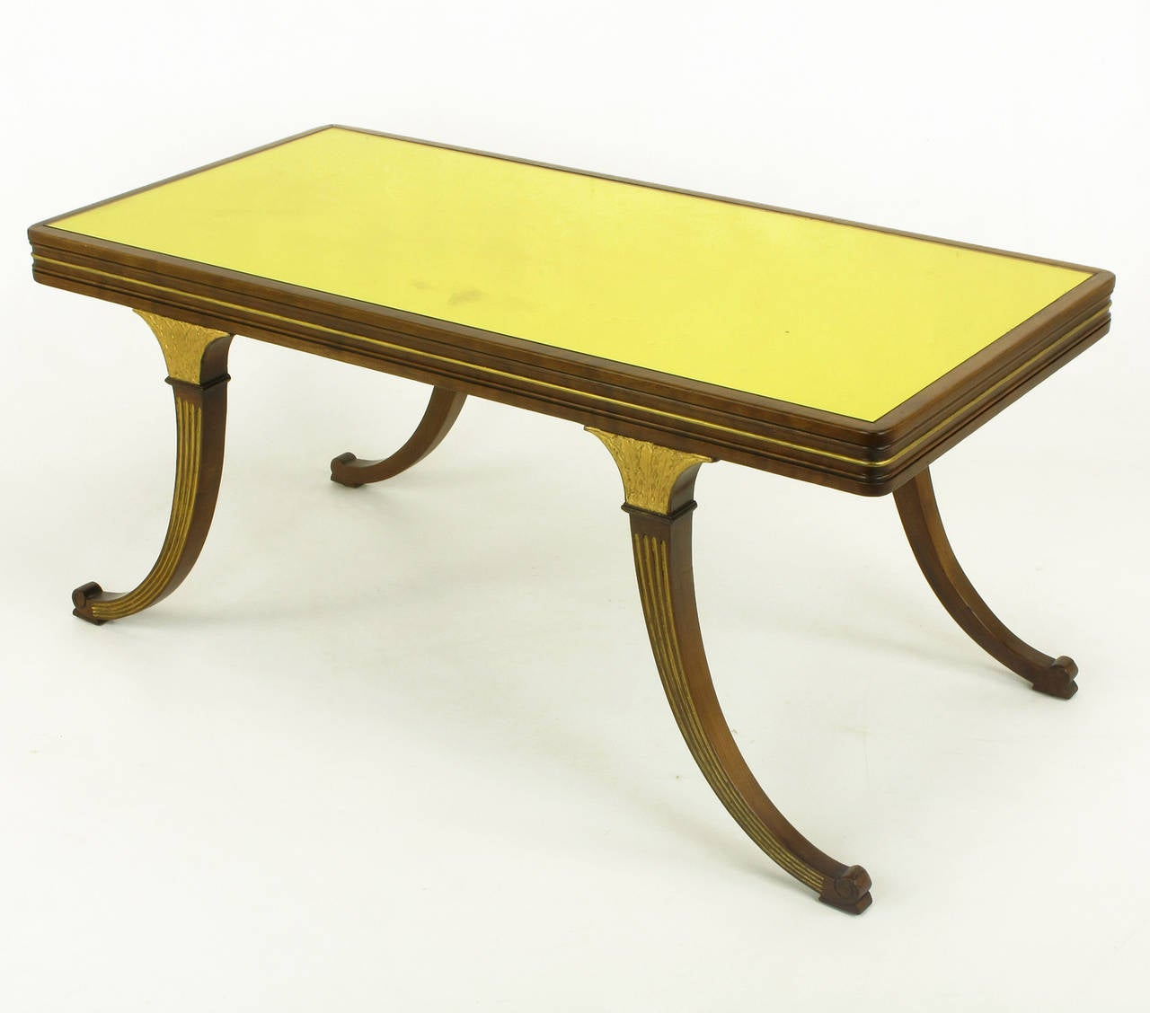 1900s parcel gilt and walnut empire coffee table with gold mirror top