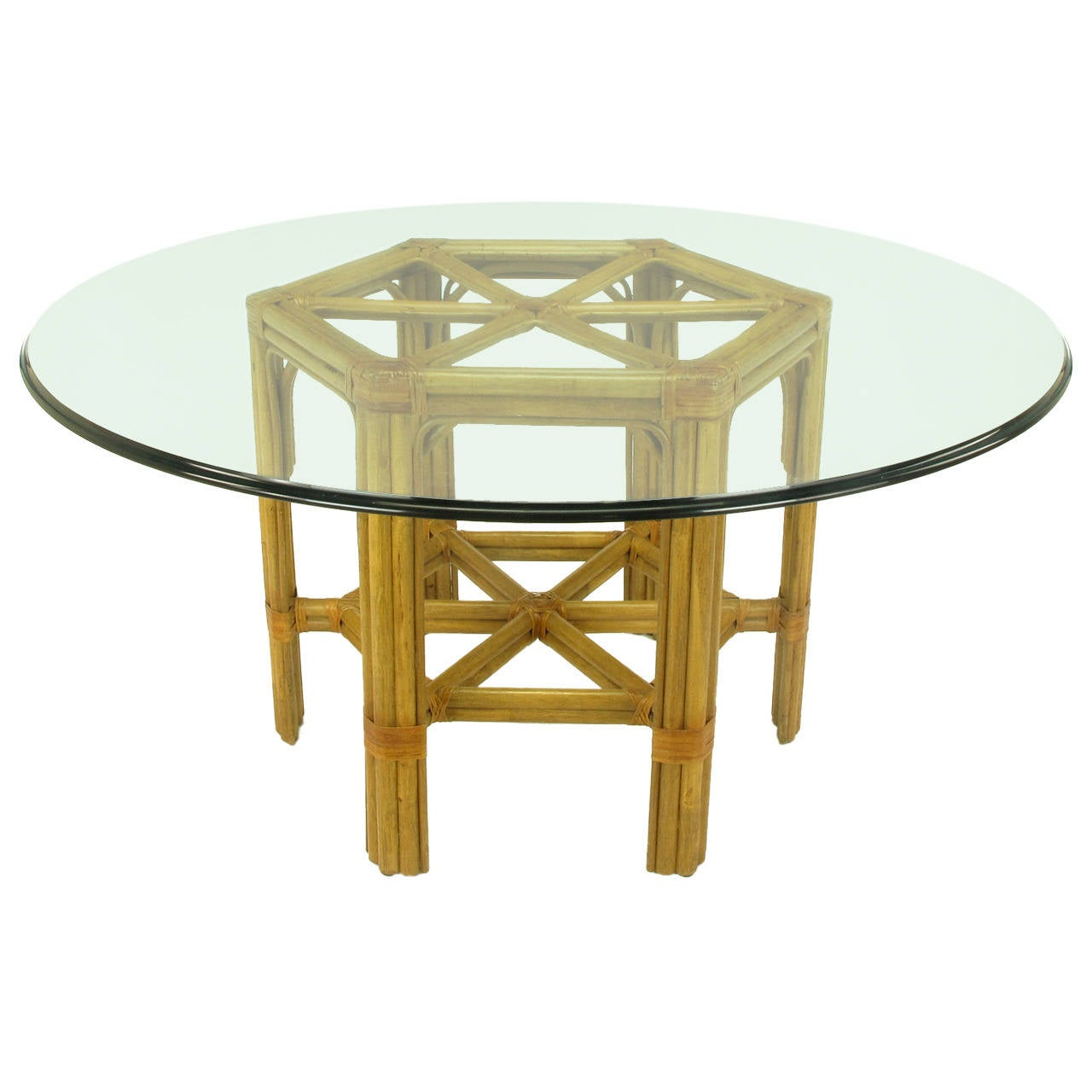 bamboo and rawhide hexagonal dining table after john mcguire at