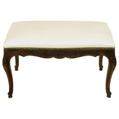 Kindel French Regency Rich Walnut and White Leather Bench