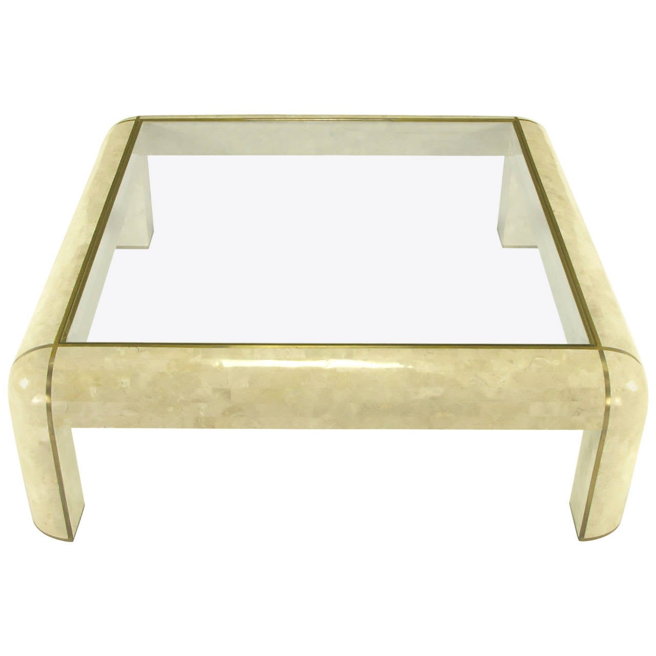 Square Maitland Smith Tessellated Fossil Stone and Inlaid Brass Coffee Table