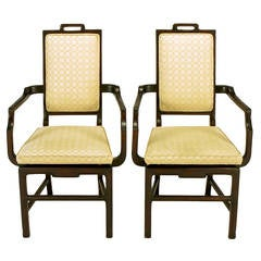 Pair of Asian Modern Mahogany Floating Seat Armchairs