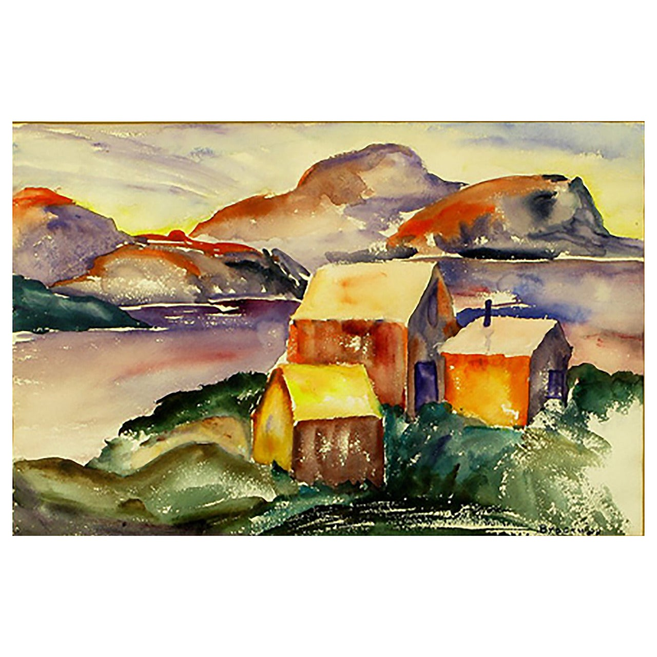 Vibrant Water Color of a Mountain Homestead, Signed Brockway