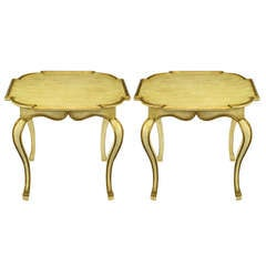 Pair Minton-Spidell Parcel Gilt & Glazed Ivory Cabriole Leg End Tables