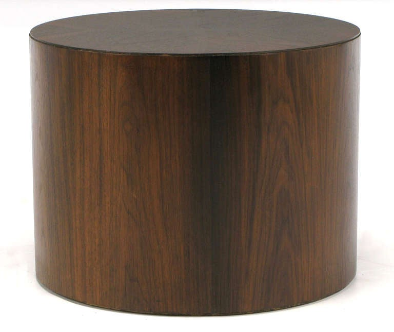 Rosewood Cylinder Drum End Table With Book Matched Top At