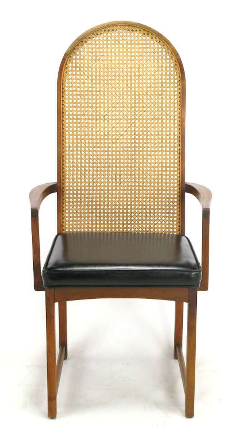 baughman walnut and cane arch back dining chairs for sale at 1stdibs