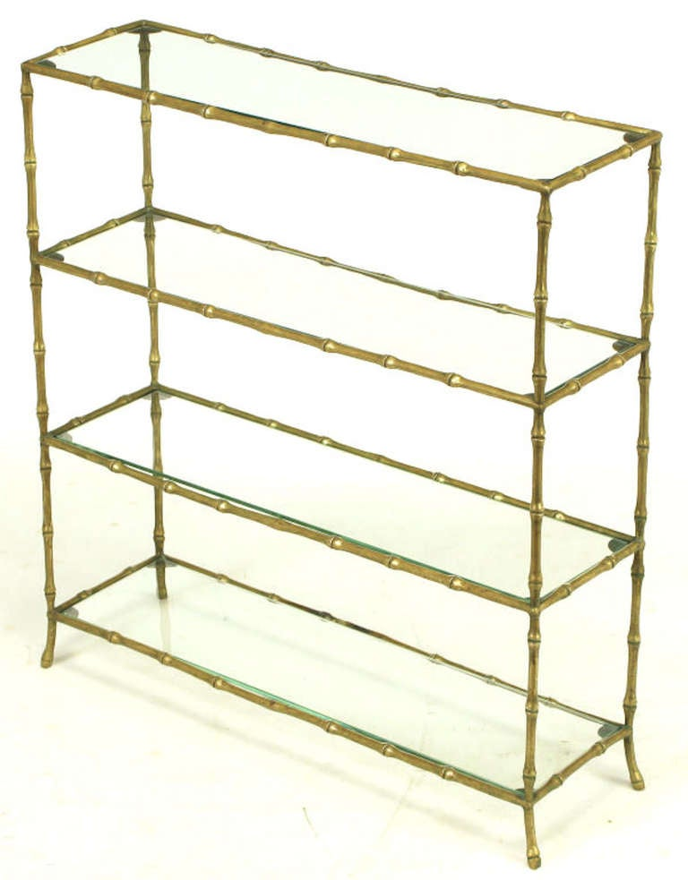 solid brass bamboo form low etagere after maison bagues at 1stdibs. Black Bedroom Furniture Sets. Home Design Ideas