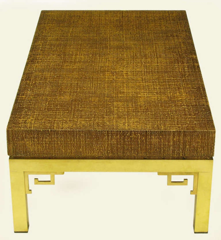 Italian Raffia And Brass Greek Key Coffee Table For Sale