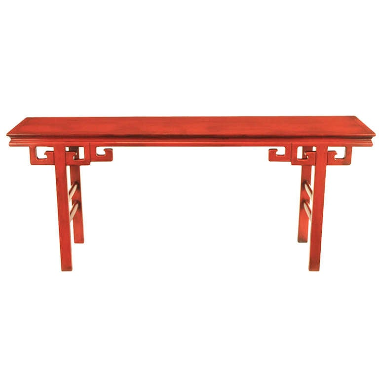 Circa 1950s Chinese Altar Table In Cinnabar Lacquer