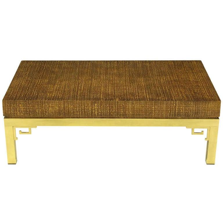 Italian raffia and brass greek key coffee table for sale for Raffia coffee table