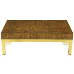 Italian Raffia & Brass Greek Key Coffee Table