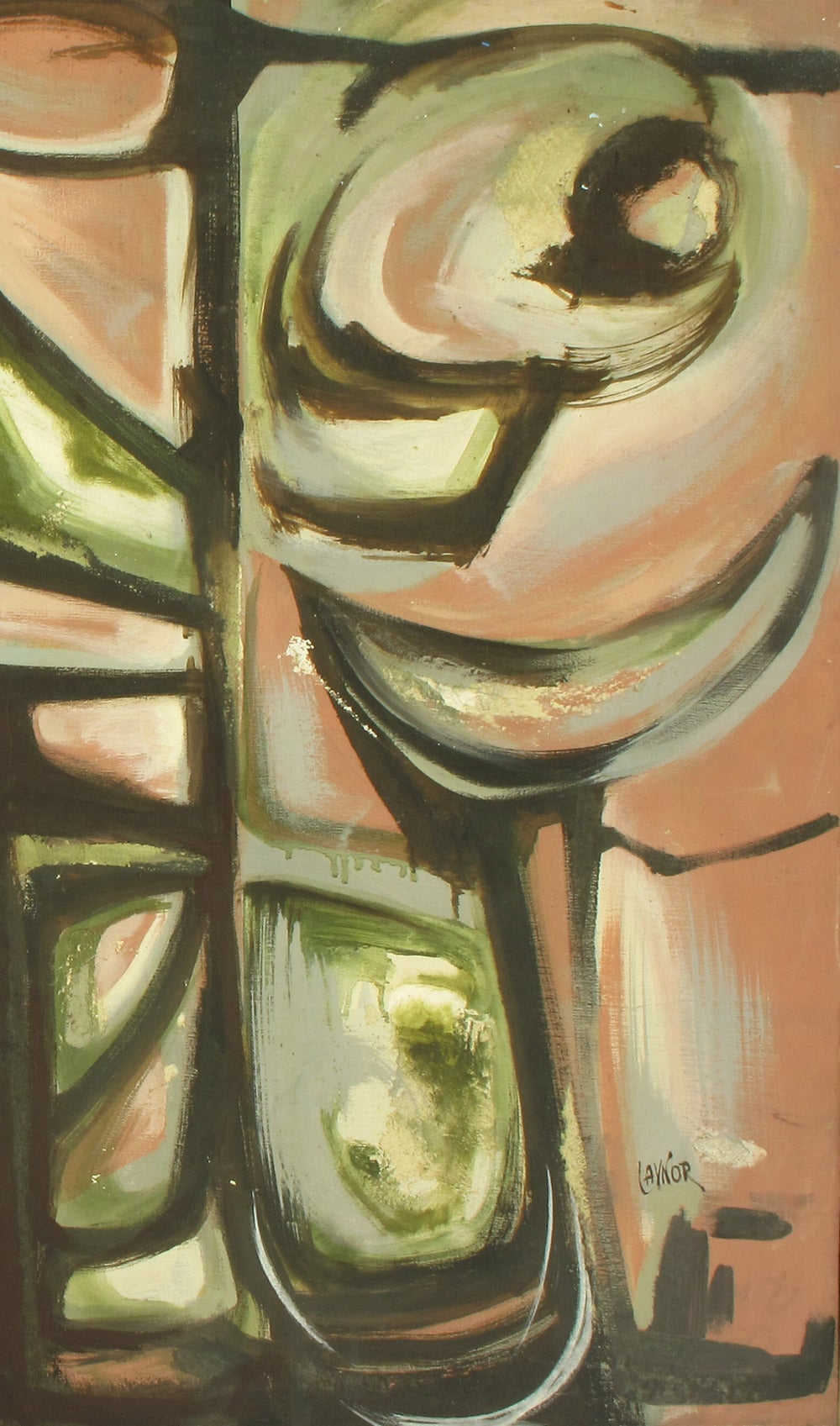 Mid-20th Century Harold A Laynor Abstract Oil on Canvas Titled