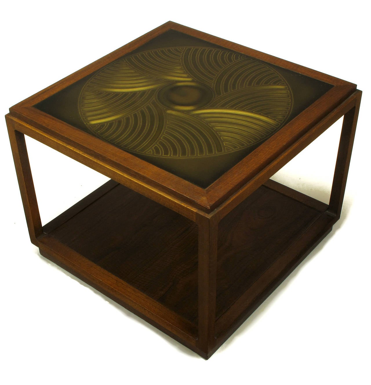 American Bert England East Indian Laurel Side Table with Etched Brass Top for Baker For Sale