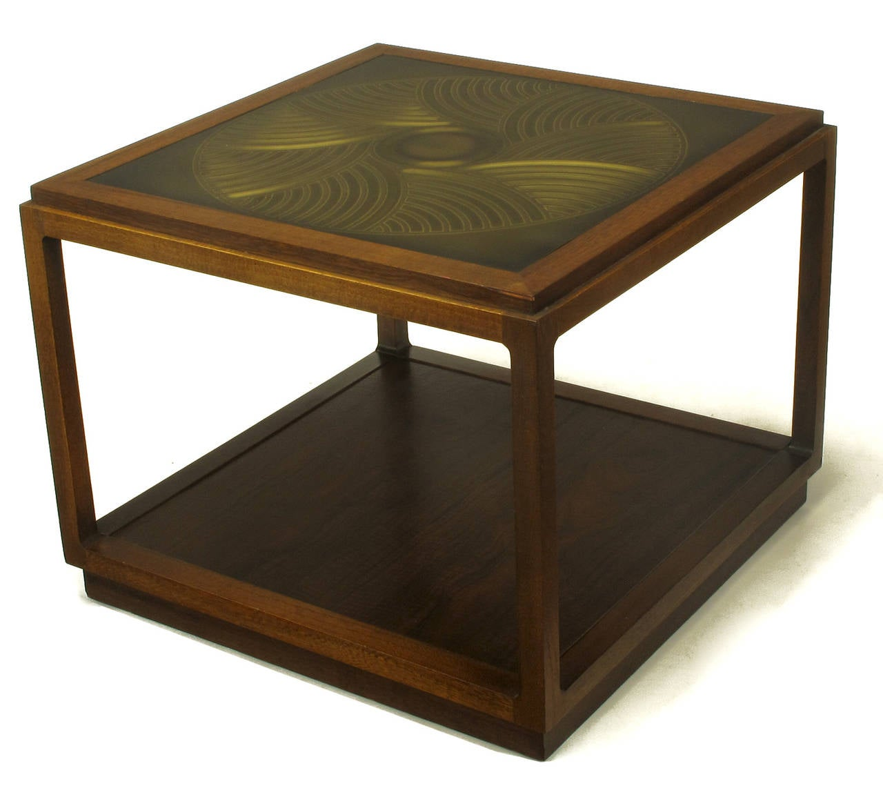 Late 20th Century Bert England East Indian Laurel Side Table with Etched Brass Top for Baker For Sale