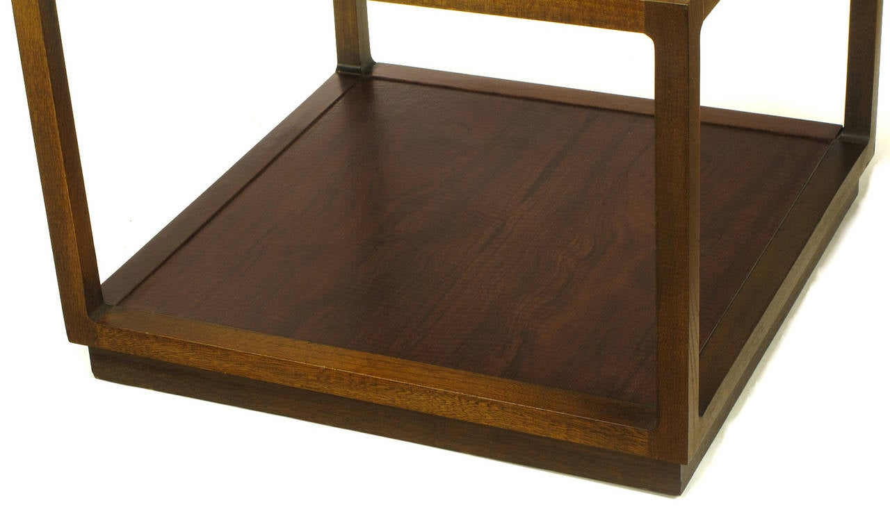 Bert England East Indian Laurel Side Table with Etched Brass Top for Baker For Sale 1