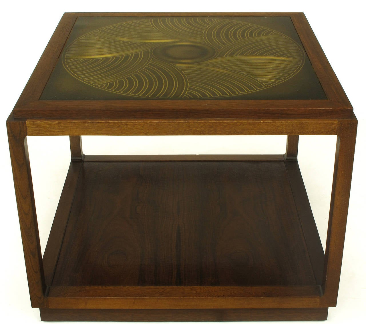 Uncommon side table from Baker Furniture's Contemporary collection, designed by Bert England. East Indian laurel wood construction with a geometrically etched brass top.