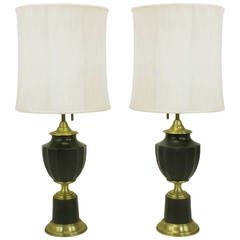 Pair of Lightolier Neoclassical Brass and Darkest Green Urn Form Table Lamps