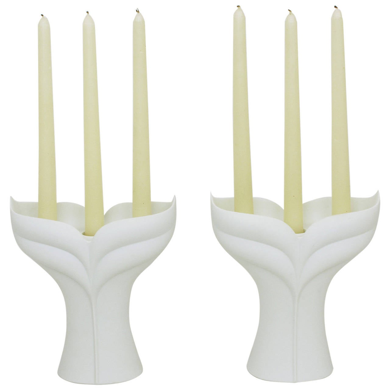 Pair of Uta Feyl White Matte Porcelain Candelabrum for Rosenthal Studio Linie For Sale