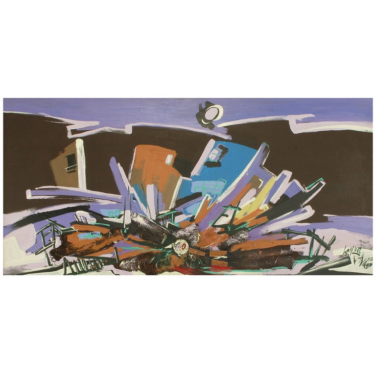 """Harold A. Laynor Mixed-Media on Canvas, Titled """"Implosion"""" For Sale"""