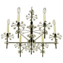 1960s Six-Arm Crystal Snowflake Chrome Chandelier