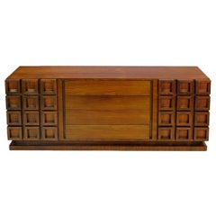 Peck & Hills Walnut Dresser with Deep Geometric Relief Front
