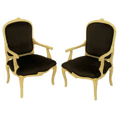 Pair of Faux Bois and Velvet Louis XV Style Fauteuils