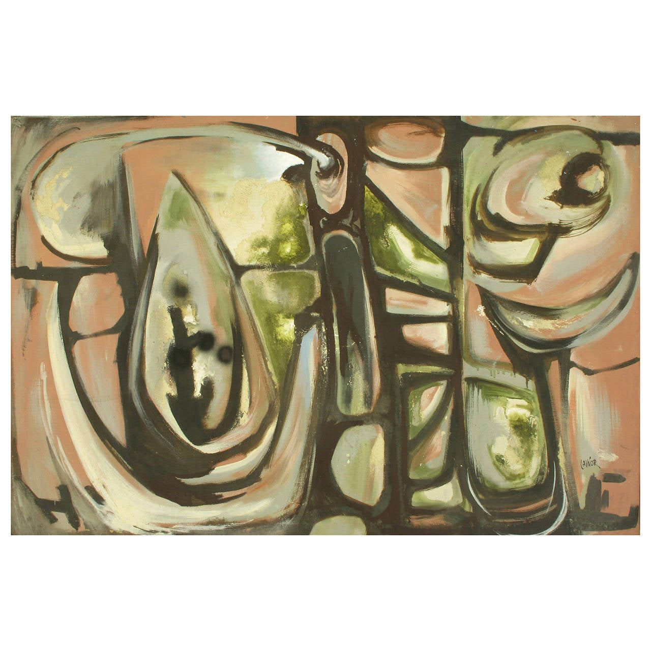 """Harold A Laynor Abstract Oil on Canvas Titled """"Stapho"""" For Sale"""