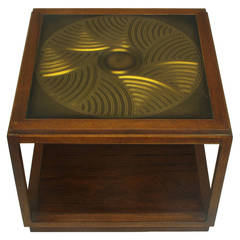 Bert England East Indian Laurel Side Table with Etched Brass Top for Baker