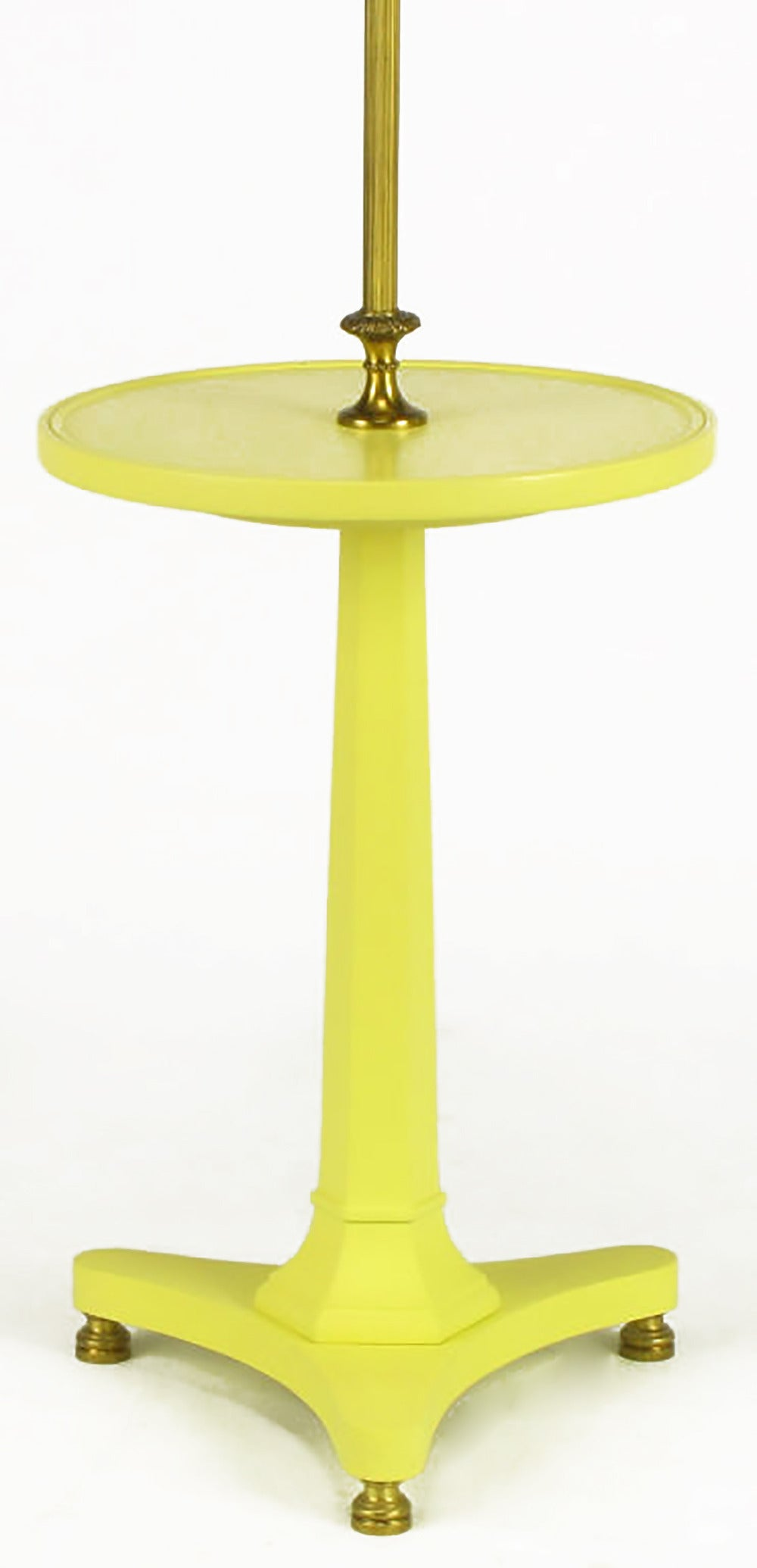 Yellow lacquered wood and brass regency floor lamp for for Yellow metal floor lamp