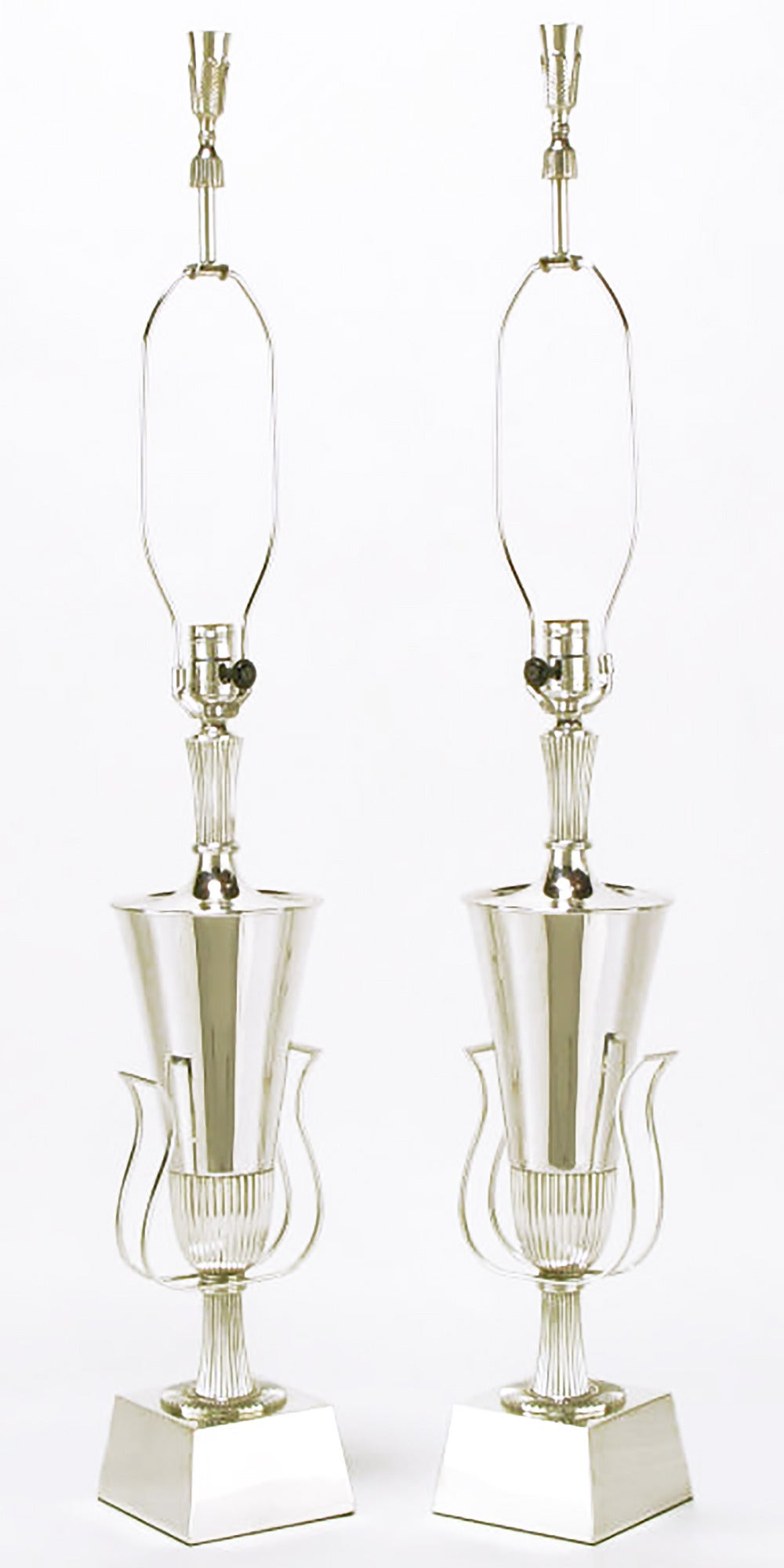 American Pair of Tommi Parzinger Silver Plated Lamps for Lightolier For Sale