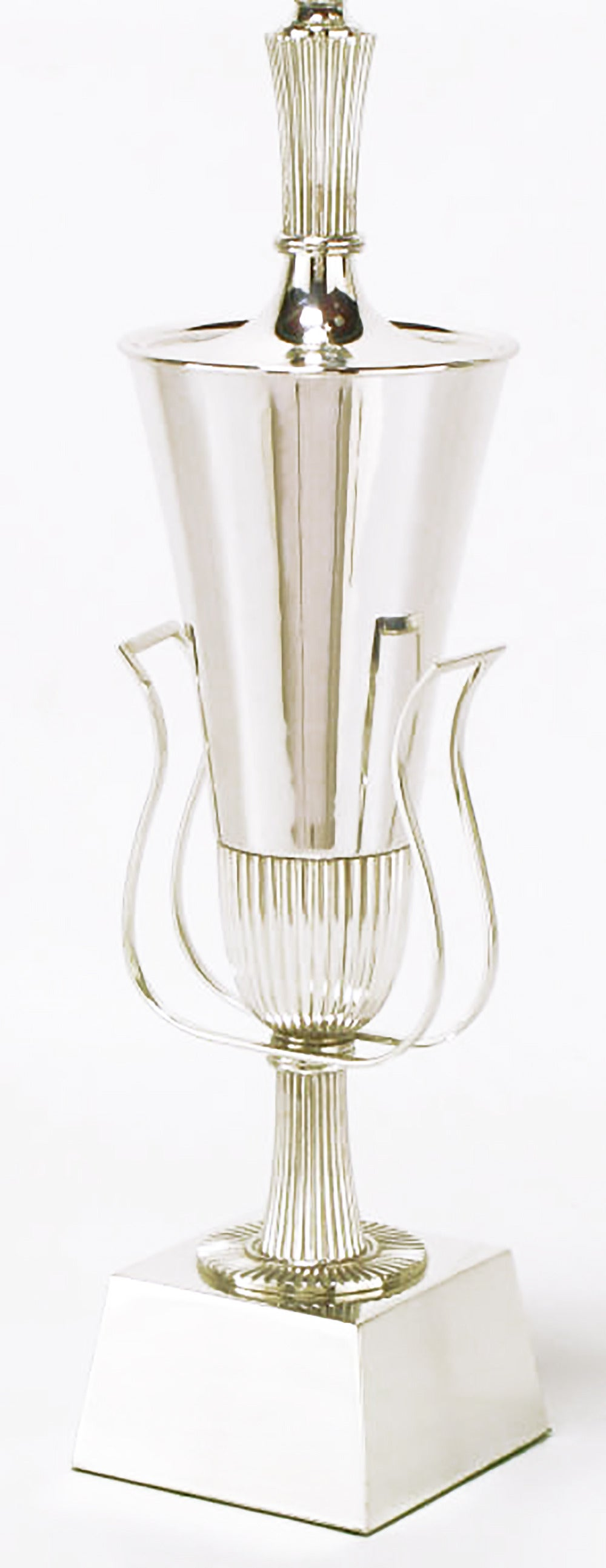 Metal Pair of Tommi Parzinger Silver Plated Lamps for Lightolier For Sale