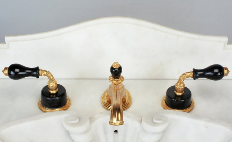 Sherle Wagner Gold Plated Bronze and Onyx Faucet Set at 1stdibs
