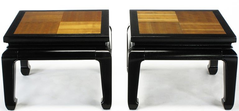 Ebonized Pair of Ming Low Tables with Parquetry Tops For Sale