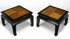 Pair of Ming Low Tables with Parquetry Tops
