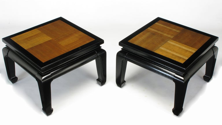 Pair of Ming Low Tables with Parquetry Tops For Sale