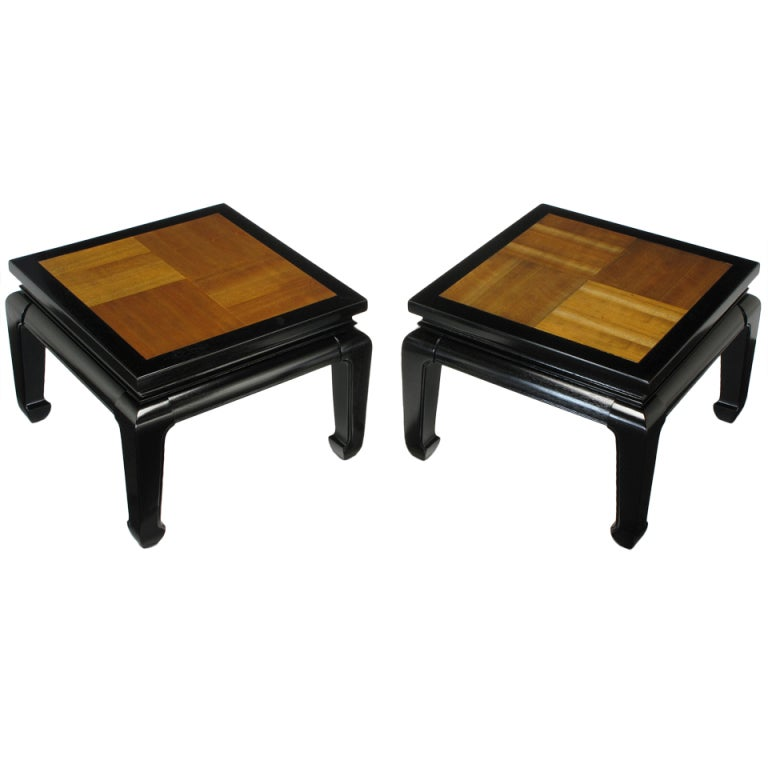 Pair Ming Low Tables With Parquetry Tops