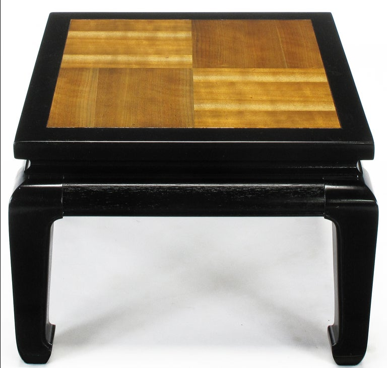 Pair of Ming Low Tables with Parquetry Tops In Excellent Condition For Sale In Chicago, IL