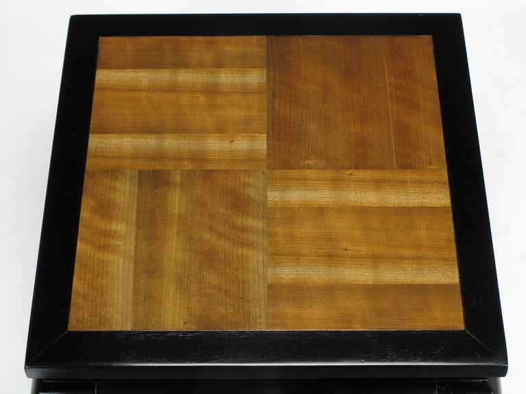 Pair of Ming Low Tables with Parquetry Tops For Sale 1