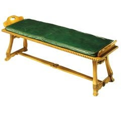 Carved White Oak & Emerald Leather Trestle Bench