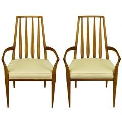 Pair Bert England Sculpted Walnut & Linen Slatback Arm Chairs