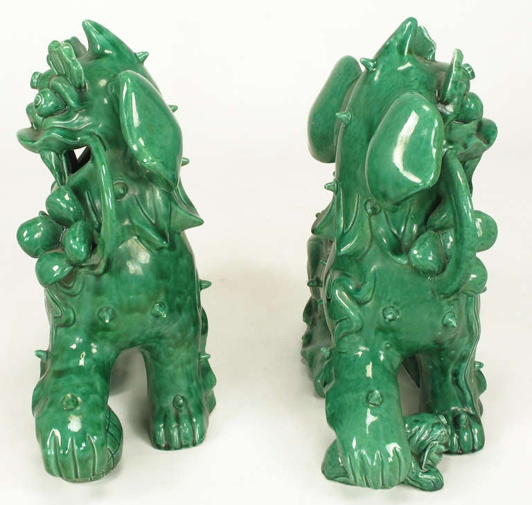 Large Pair Signed Emerald Green Ceramic Foo Dog Statues In Excellent Condition In Chicago, IL