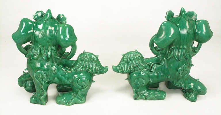 Mid-20th Century Large Pair Signed Emerald Green Ceramic Foo Dog Statues