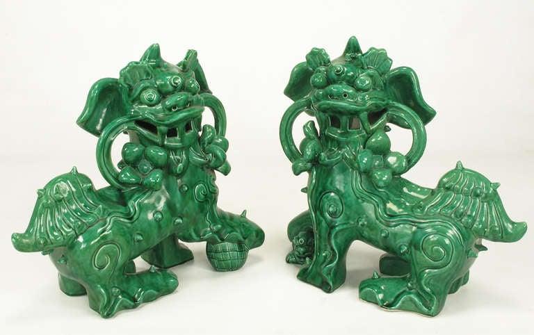 Large Pair Signed Emerald Green Ceramic Foo Dog Statues 2