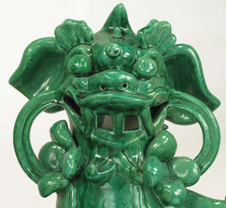 Large Pair Signed Emerald Green Ceramic Foo Dog Statues 3