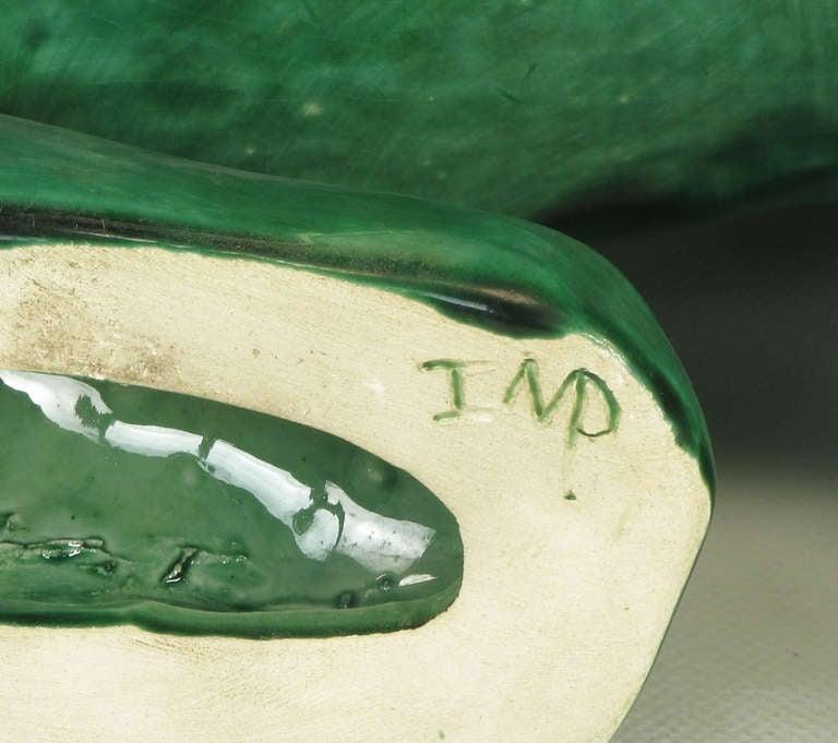 Large Pair Signed Emerald Green Ceramic Foo Dog Statues 5