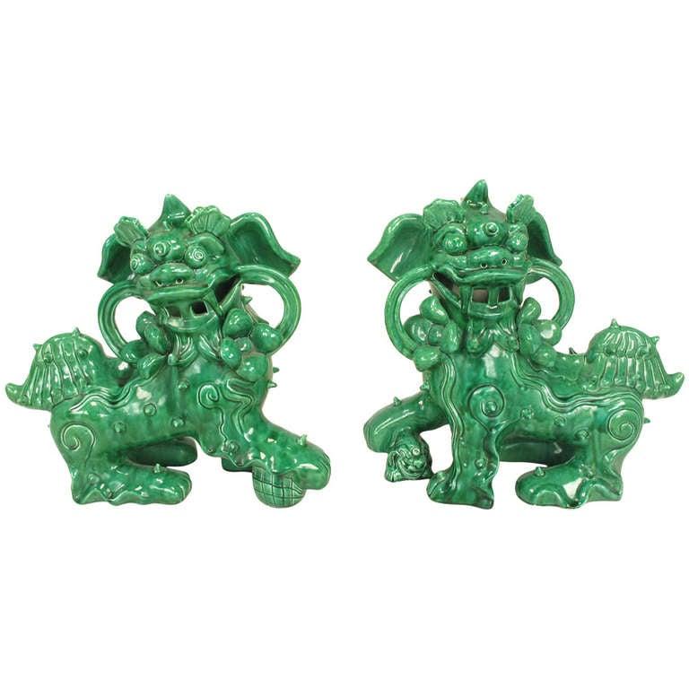 Large Pair Signed Emerald Green Ceramic Foo Dog Statues
