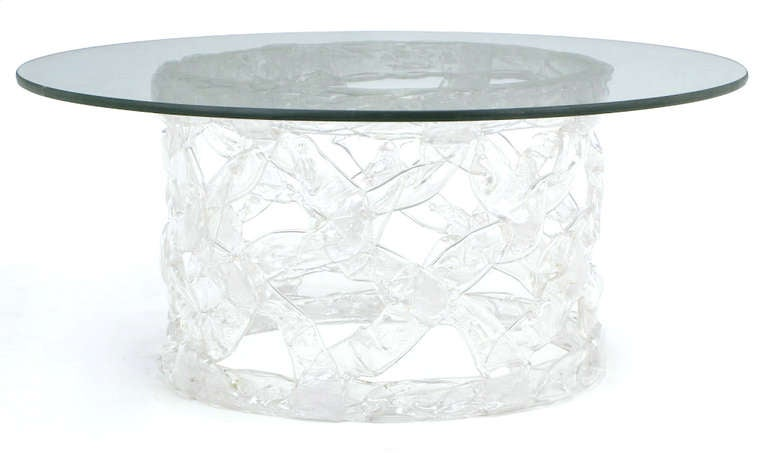 Round Reticulated Lucite And Glass Coffee Table At 1stdibs