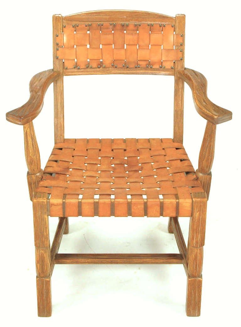 Pair Rustic White Oak and Woven Leather Arm Chairs For
