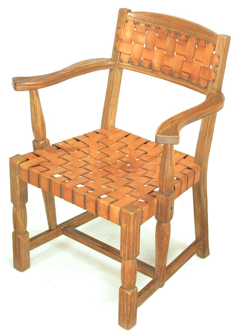 Pair Rustic White Oak and Woven Leather Arm Chairs For ...