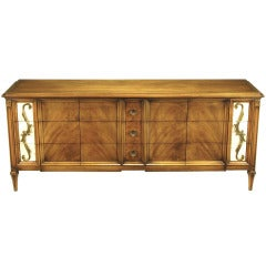 Romweber Figured Walnut  Dresser With Crema Marble Inset Panels
