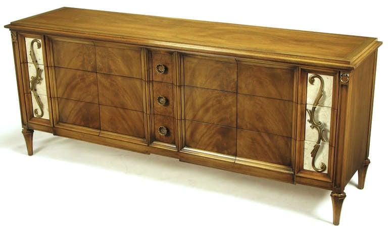 Romweber Figured Walnut Dresser With Crema Marble Inset Panels 2